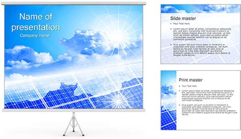 clouds on solar panels powerpoint template backgrounds