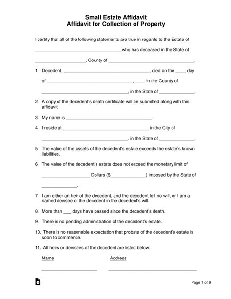 small estate affidavit forms  word eforms  fillable forms
