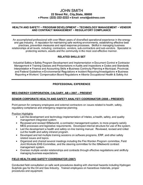 ehs resume exles health and safety resume best resume gallery