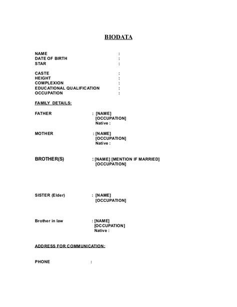marriage resume format word file biodata format for marriage word 6 95 97 2003