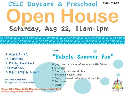 in house daycare celc flyer open house aug 09 from celc daycare preschool in mountlake terrace wa 98043