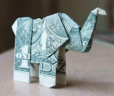 Origami Elephant Dollar - beautiful origami made of dollars by won park noupe