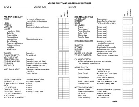Worksheets Template Of A Vehicle Check In List Opossumsoft Worksheets And Printables Vehicle Safety Inspection Checklist Template
