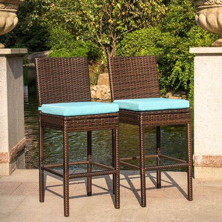 Brown Wicker Bar Stools by Sundale Outdoor 2 Pcs Brown Wicker Counter Height Bar
