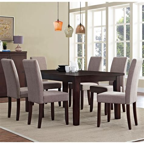 simpli home acadian 7 light mocha dining set simpli home acadian 7 light mocha dining set axcds7 aca lml the home depot