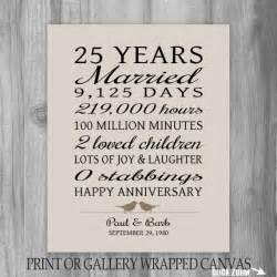 25 year anniversary gift 25th anniversary print