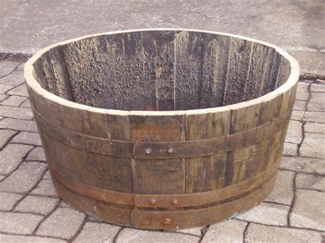 Wooden Half Barrel Planters by Recycled Oak Whisky Barrel Half Barrel Planter