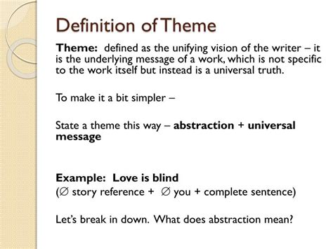 theme power definition ppt process for finding and writing a correct statement