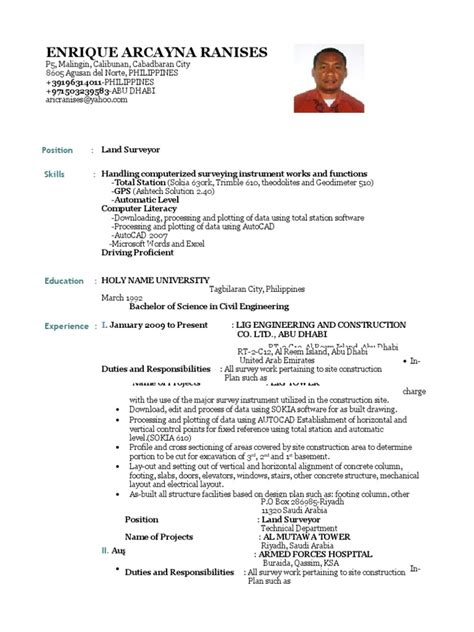Free Resume Sle For Land Surveyor Cv Land Surveyor