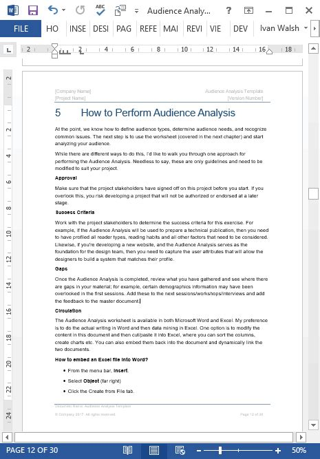 audience analysis template ms word excel free sles