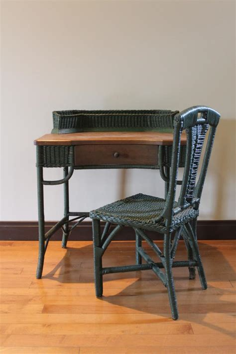 Antique Wicker Desk by Antique Green Wicker Desk And Matching Chair