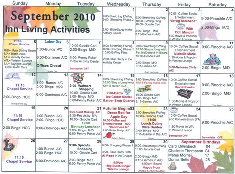 assisted living activity calendar template september assisted living activities welcome to sun