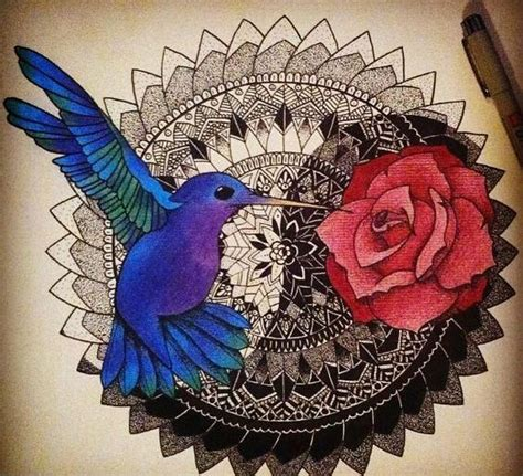 red white and blue rose tattoo bright blue hummingbird and yin yang mandala