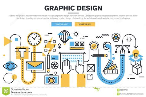 workflow graphics flat line design concept for graphic design workflow