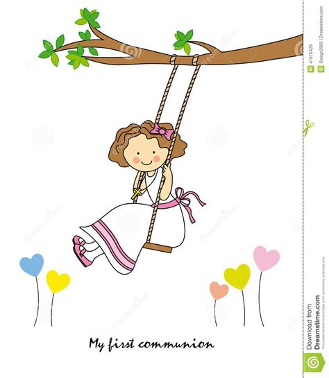 swinging for the first time girl swinging stock vector image 41676429