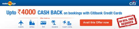 Makemytrip E Gift Card - makemytrip discount offers upto rs 4000 cash back on bookings with citibank credit