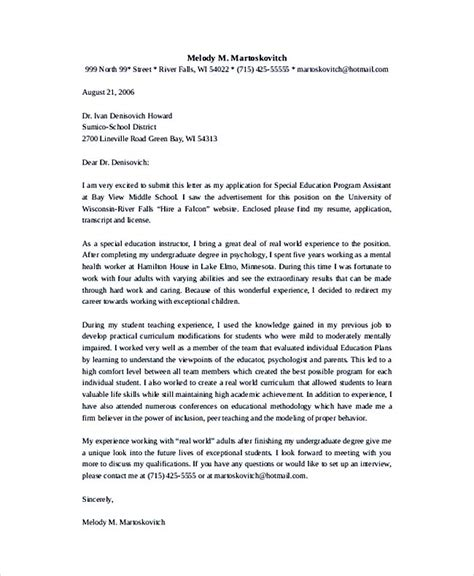 Reference Letter For Special Education Aide Teaching Cover Letter Exles For Successful Application