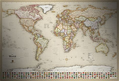 classic antique map style executive world map  flags