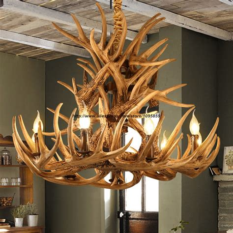 luster landhausstil modern country rustic 9 arm antler chandelier light brown