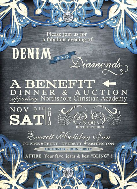 Denim And Diamonds Mccs Auction Ideas Pinterest Auction Search And Flyers Gala Invitation Template Free