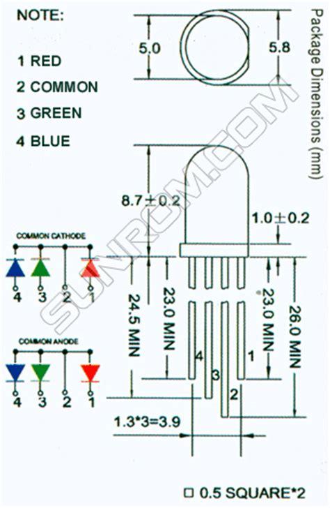 rgb led mm common cathode diffused  sunrom