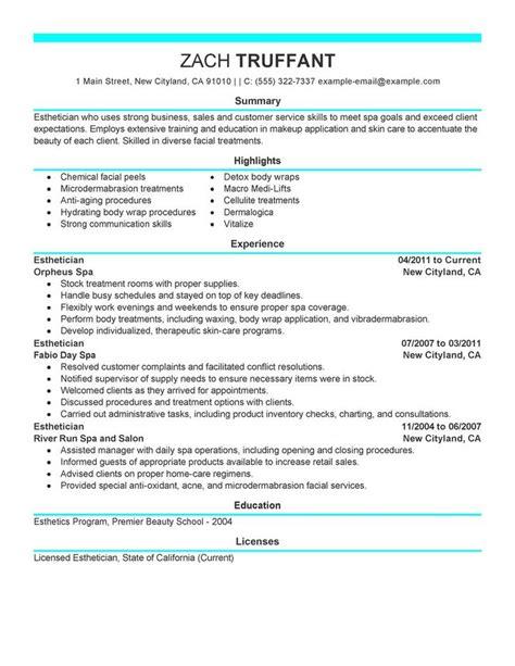 Esthetician Resume Sles Free Esthetician Resume Cover Letter Sle Http Www