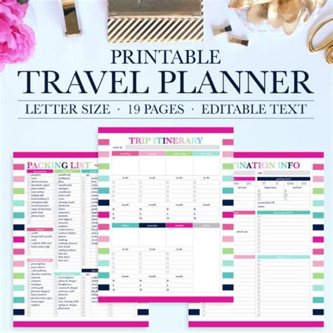 printable daily vacation planner travel planner printable jessica marie design