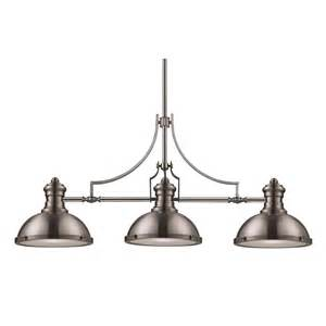 Brushed Nickel Kitchen Faucets by Chadwick Three Light Linear Island Pendant 66125 3