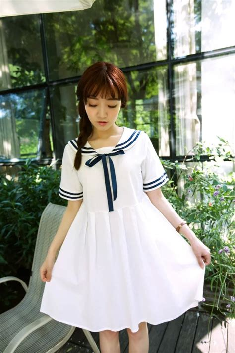 20015 White Navy Style 2016 summer s navy style sweet sleeve dress white navy blue sailor dress