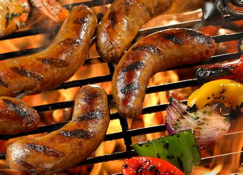brats not on the grill grilled sausage with marinated shrimp peppers and onions
