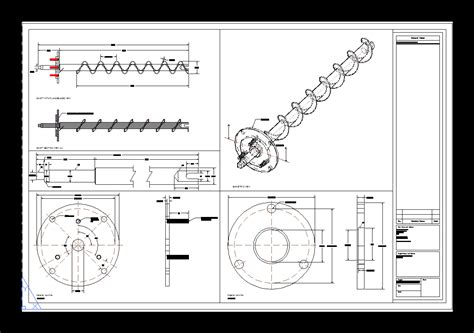 screw conveyor dwg block  autocad designs cad