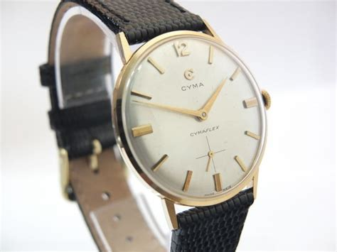 cyma cymaflex swiss 18k 1955 vintage gold watches