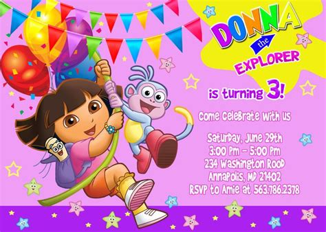 Printable Invitations Dora The Explorer | free dora the explorer birthday invitations template