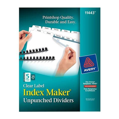 avery index maker clear label dividers 5 tab template avery 11443 clear label index maker unpunched dividers white 5 tab box of 25 sets nordisco