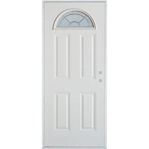 Stanley Doors 32 In X 80 In Geometric Brass Fan Lite 4 Stanley Exterior Doors