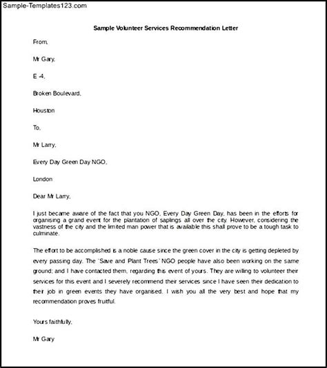 Service Letter Doc Volunteer Services Recommendation Letter Template Word Doc