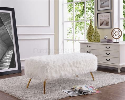 tiffany bench tiffany bench 108 in white fur by meridian