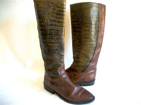 italian boots for womens vintage boots italian leather crocodile or by
