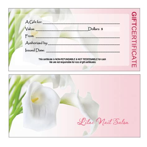 nail gift certificate template gift certificates printing for nail salon