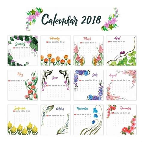 printable calendar 2018 with designs 12 month calendar 2018 on one page twelve month printable