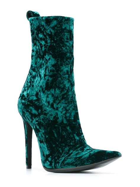 haider ackermann crushed velvet ankle boots in green lyst