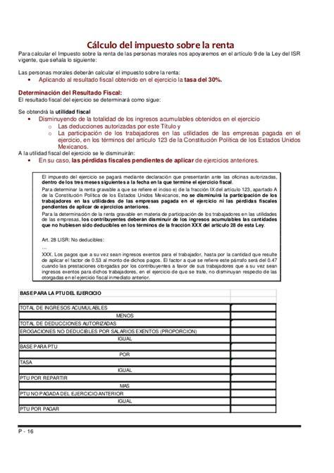 calculo anual de ispt y de subsidio para 2015 declaracion anual del isr manual de calculo y presentacion