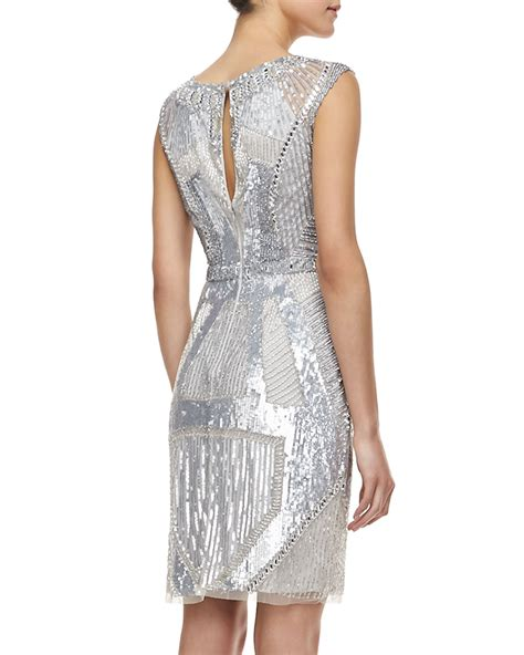silver beaded dress aidan mattox sleeveless beaded deco pattern cocktail dress