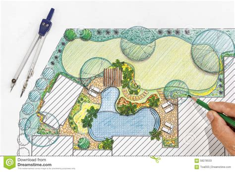 backyard plans landscape architect design backyard plan for villa stock