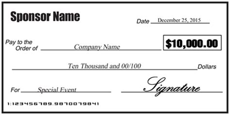 check presentation template blank sponsorship check signazon
