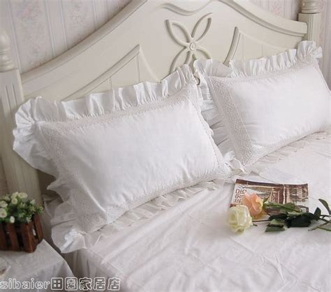 How To Make A Sham Pillow Cover by 2pcs Ruffle Lace White Cotton Pillow 2pcs Sham Cover Ruffle Pillowcases Inpillow From