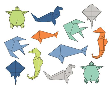 How To Make Sea Animals Out Of Paper - 60 clip sale origami sea clipart digital design