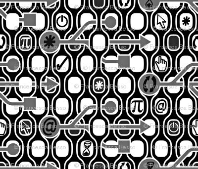Arrow Woven 0207 chic spirit big bw fabric chicca besso spoonflower