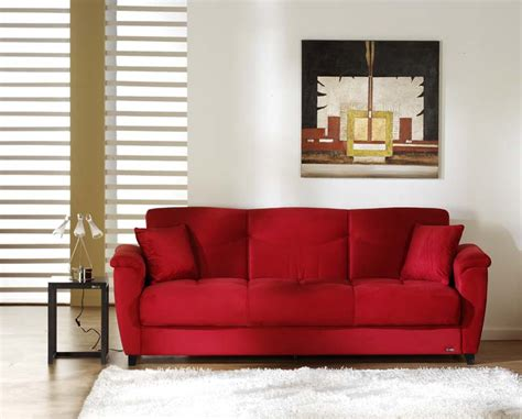 what colors go with a red couch aspen rainbow red convertible sofa bed by sunset