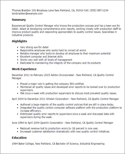 cv format for quality manager professional quality control manager templates to showcase